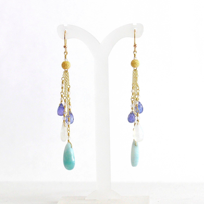 Larimar Earrings, Moonstone, Tanzanite Earrings, Teal Blue Stone Earrings,  Larimar Gold Earrings, Gift For Her, Blue Stone Long Earrings