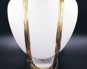 Multi Strand Gold Chain Necklace, Infinity Gold Chain, Multiple Chains Statement Necklace, Liquid Gold Tone Draping Chains