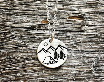 Mountain Camping Necklace - Mountain Necklace - Tent Camper Necklace - Hand Stamped Sterling Silver Necklace - Camping Love Necklace