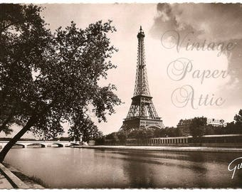 Eiffel Tower River View Vintage French Postcard with Paris Postmark France from Vintage Paper Attic
