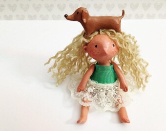 Doxie Girl Art Doll Figurine - With Jointed Arms & Legs - One of a Kind Art Sculpture