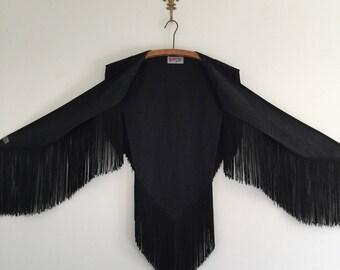 Vintage Western Fringe Black Denim Rodeo Show Shawl Vest