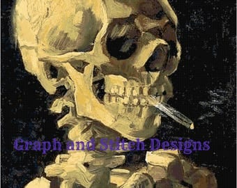 Van Gogh - Skeleton With a Burning Cigarette - Cross Stitch Chart Only