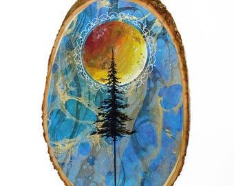 Tree wood sign, starry night sky, bohemian art, moon wood sign, full moon art, forest at night, nature painting, night sky galaxy art
