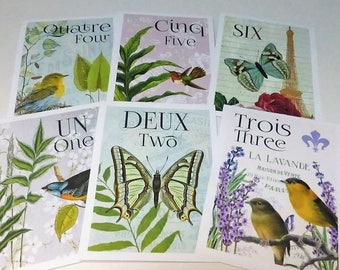 French Botanical Table Cards, French Table Numbers, French Wedding,  Bird Butterfly Table Cards, Wedding Table Cards