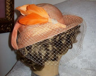 Vintage Ladies Peach Woven Straw Hat w/ Veil & Feather Trim by Ruth Alan Only 10 USD