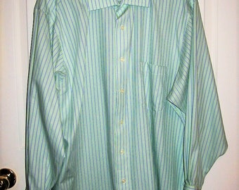 "Vintage Mens Green & Purple Striped Long Sleeve Shirt by Izod Large 17""  Neck Only 7 USD"