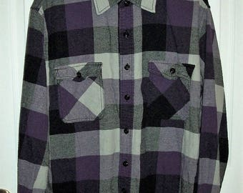 Vintage Men's Purple & Black Plaid Flannel Shirt by Arizona Jean Co Large Just 9 USD