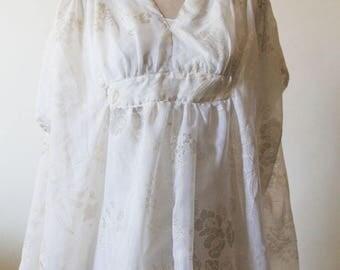 Mumu Kaftan Dress | Bathing Suit Coverup | Embroidered Tunic Dress | Bohemian Summer Dress | Bridesmaids Dress | Boho Floral Ivory Dress