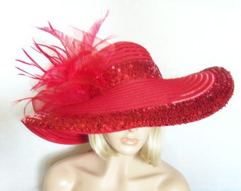 Red Hat - Wide Brim Red Hat - Kentucky Derby Hat, Garden Party Hat or Tea Party