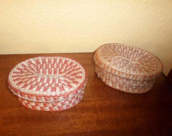 Pair of Little Caddies/INDIA/STRAW/WICKER/Dyed/With Lids/Vintage/1980's/Pair