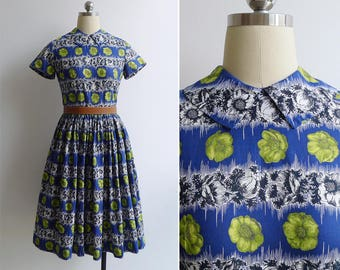 Vintage 50's 'Green Poppies' Blue Collared Cotton Fit & Flare Dress XS or S