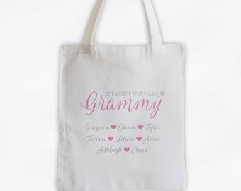 Grandma and Grandkids Personalized Cotton Canvas Tote Bag - Favorite People Call Me Grammy Custom Gift in Pink and Gray  (3030)