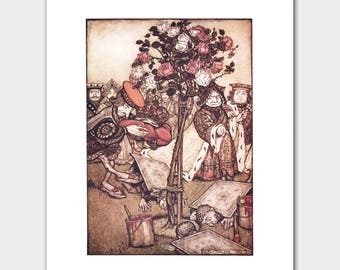 """Alice in Wonderland Art, Arthur Rackham Print --- """"Painting White Roses Red"""" No. 136"""