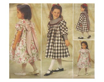 SALE! Girls Gathered Yoke Dress Pattern Uncut Vintage 1990s Butterick 4215 Designer Judy Lynn Childrens Size 4-6 Breast 23 24 25