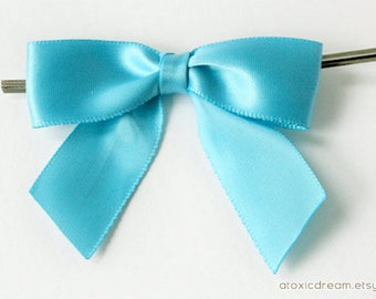 12 TURQUOISE BLUE Pre-made Bow Embellishments