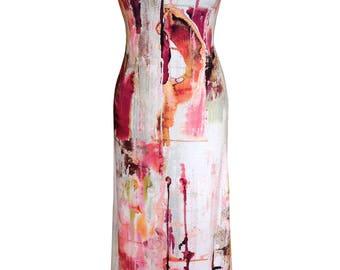 Cotton Maxi Dress, Abstract Painting, Pink Dress, Plus Size, Day Dress, Printed Dress, Cotton Dress, Summer Beach Dress, Designers Dress