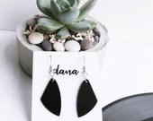 black dangle earrings simple earrings everyday earrings sustainable design hypoallergenic earrings music gift for women minimal earrings