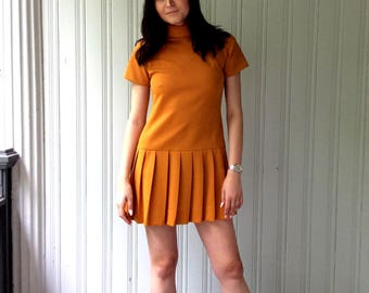 vintage Yellow Gold Minidress Mod 1960s scooter style pleated tunic dress with rolled collar
