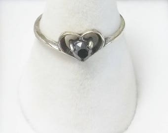 Signed Wheeler mfg Company Vintage 1960's Hematite Sterling Silver Heart Ring Fine Jewelry Gift For Her or Tween
