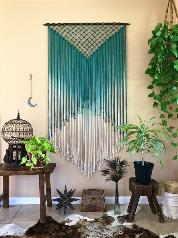 Teal Ombre Macrame Wall Hanging