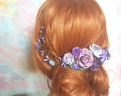 Large Boho haircomb with purple and lavender flowers. Rustic floral hair comb romantic flowers. Woodland fashion accesories