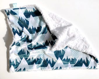 CRIB / STROLLER - Mint Geo Mountains - Baby boy double minky blanket blue turquoise white modern woodland personalized embroidered