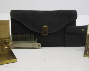 Vintage American Beauty By Elgin American Gold Tone Cigarette Case Powder Compact Comb & Storage Bag