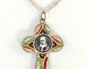 1950s Italian Catholic Cross - Silver Plated with Micro Mosaic and Photo Image of Pius XII - Made in Italy