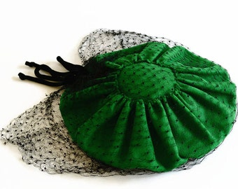 vintage straw hat emerald green 1940s Barbara Charles of California
