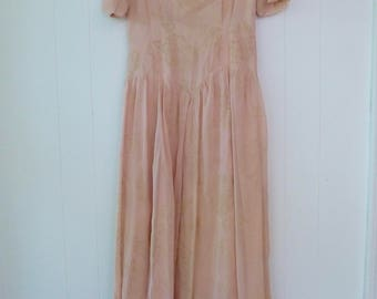 40's Romantic Party Dress Sweetheart Illusion Sheer Shell Pink Gown Flocked Floral Full Length Full Sweep Maxi S