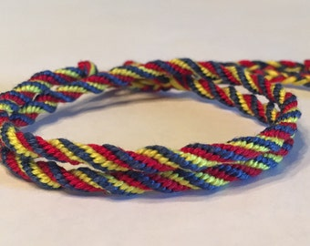 Navy, Red and Yellow Spiral Cylinder Double Wrap Friendship Bracelet
