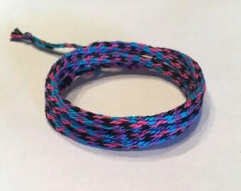 Blue, Pink, Purple and Black Triple Wrap Cotton Cylinder Friendship Bracelet