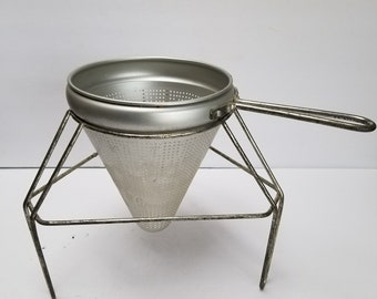 Vintage Aluminum Cone Shaped Sieve Food Strainer Stand