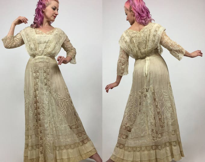 RESERVED - LAYAWAY LISTING 2 - Antique Edwardian Cotton Batiste Embroidered Tea Dress  - Titanic Era - Cotton Voile - Size Small