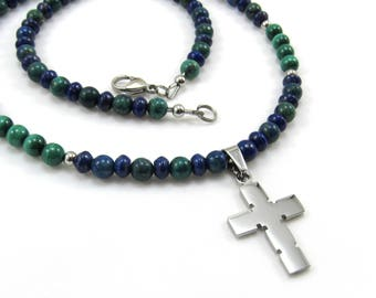 Men's Jewelry, Stainless Steel Cross Pendant, Gemstone Necklace, Beaded Necklace, Azurite, Lapis Lazuli, Malachite, Blue and Green Gemstone