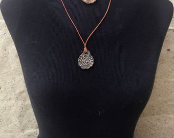 ceramic pendant ,adjustable necklace, batik pattern, clay pendant, ceramic jewelry, leather choker, boho style, paisley print, yoga mom gift