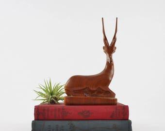 Vintage Hand Carved Wooden Deer Figurine - Wooden Gazelle Decoration
