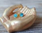Teal Blue Druzy Stud Earrings