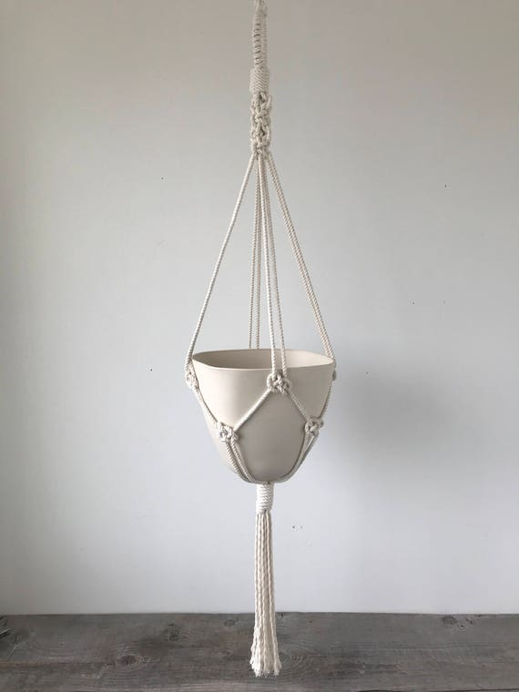 Amal Square Top Bullet Planter, Includes both Porcelain Pot and Macrame Cotton Hanger