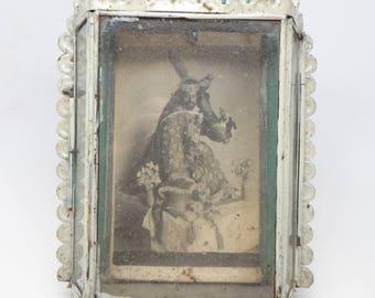 Antique Tin Nicho Icon with Crucifix Shrine, Mexican Folk Art
