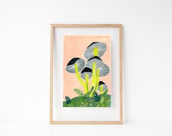 Mushroom Painting. Mushroom Art. Woodland Nursery. Fungi Wall Art. Forest Nursery Decor. Kids Bedroom Art. Mycology Art. Nature Wall Art.