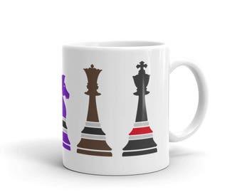 Jiu Jitsu Chess Training Mug for BJJ Jiu Jitsu Fighters Ceramic Mug and Martial Arts, MMA, or Brazilian Jiu Jitsu Drinkware