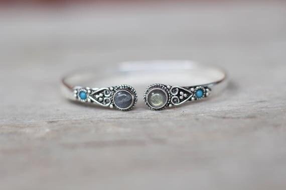 LABRADORITE BANGLE - Two Stone Bangle - Tibetan - Vintage - Bohemian - Gemstone bracelet - Crystal bangle - Stocking filler - Filigree