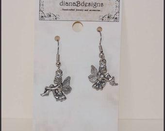 Fairy 2 charm earrings,hypoallergenic lead free metal alloy,stainless steel,gift for her,fun boho earrings,custom request,teen tween