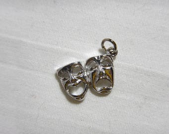 Comedy Tragedy Masks Charm Solid Sterling Silver .925 Theatre -A9