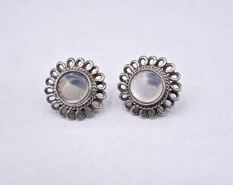 Vintage Moonstone Earrings, Silver Moonstone Stud Earrings