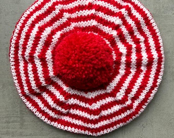 Children's Hat, Beret, Children's Clothes, Hat, Hand Knitted, Pure Wool, Red And White Stripes, UK Seller