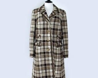Vintage 70's Smart Tailored Brown Wool Winter Coat Large UK 16 EU 44 US 12
