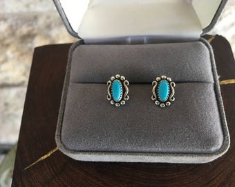 Southwestern Stud Earrings Turquoise Earrings Wheeler Manufacturing Sterling Silver Indian Concho Earrings 90's Southwest boho earrings